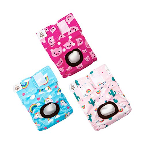 CuteBone Dog Diapers Female Small Washable Doggie Diapers Reusable 3 Pack for Heat D31S