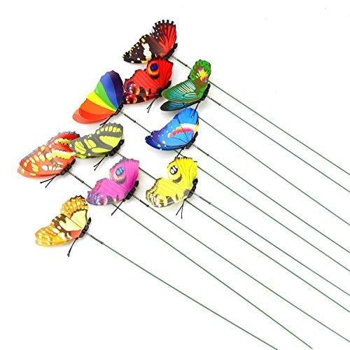 10 Stück Miniatur-Schmetterlinge für den Feengarten, bunt