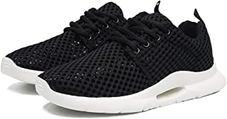 ZUAN Fashion Sneakers for Men Perforated Walking Sport Shoes Lace Up Round Toe Anti-Slip Breathable Lightweight Shoes