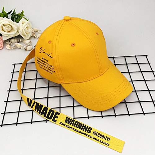 Sombrero Estrella del Mismo Estilo pequeño Sombrero Amarillo Gorra de Cinta Letra Femenina Correa Larga Gorra de béisbol Masculina Primavera y Verano sombrilla