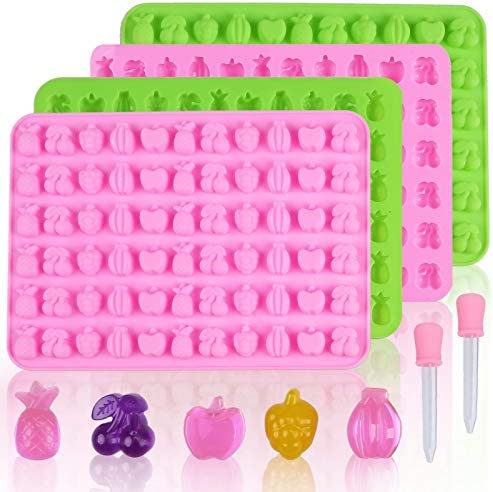 Wocuz 4 Pack Fruit Silicone Candy Gummy Molds 66 Cavities Pineapple Grape Apple Banana Cherry product image