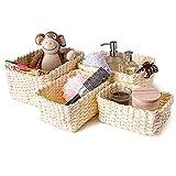 Set di 4 cestini in corda di carta intrecciata, per camera dei bambini, cucina, bagno (beige)