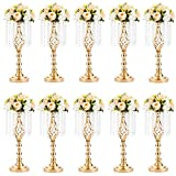 NUPTIO 10 Pcs 19.3 inches Tall Crystal Flower Stand Wedding Road Lead Tall Flower Holders Centerpiece Crystal Flower Chandelier Metal Flower Vase for Reception Tables Wedding Supplies