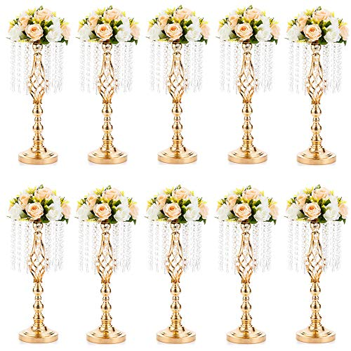 10 Pcs 19.3 inches Tall Crystal Flower Stand Wedding Road Lead Tall Flower Holders Centerpiece Crystal Flower Chandelier Metal Flower Vase for Reception Tables Wedding Supplies