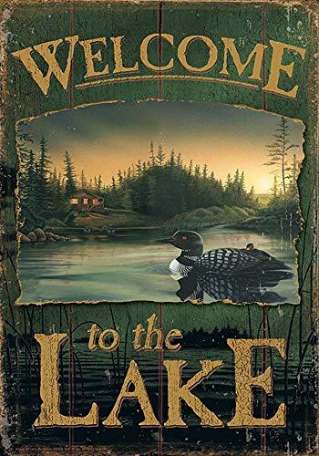 Loon Lake welkom 30 X 45 Cm decoratieve rustieke hek buiten vogel scene huis vlag