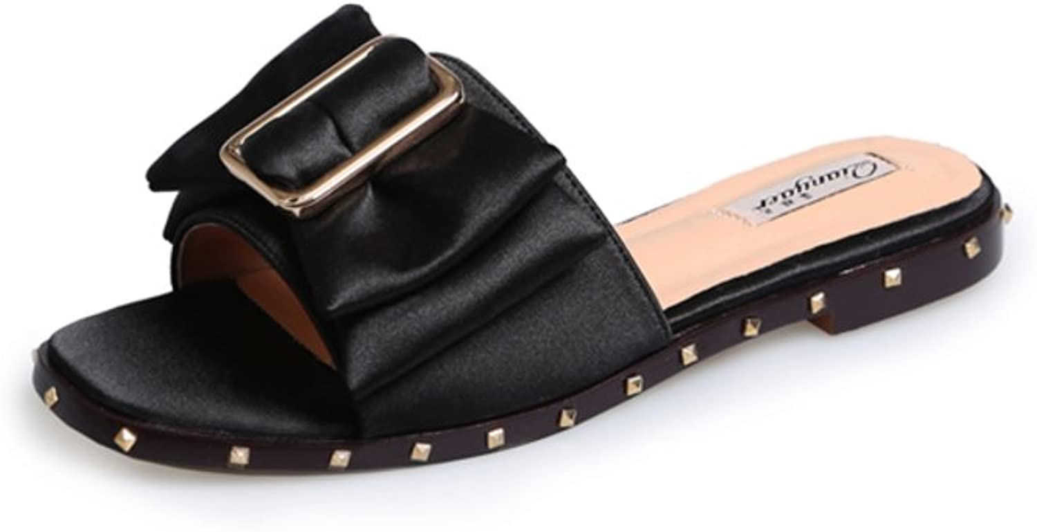 MET RXL Summer,Square Head,One-line Type,Flat Sandals Lady,Rivet Cool Slippers