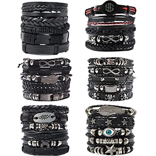 WAINIS 6 Pack Mens Black Leather Bracelets Set for Men Stackable Braided Cuff Bracelet Tribal Punk Rock Handmade Wristband
