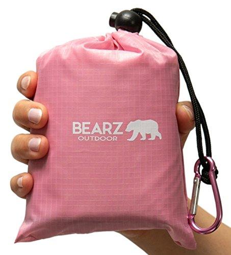 BEARZ Outdoor Beach Blanket, Waterproof Picnic Blanket 55″x60″ - Lightweight Camping Tarp, Compact Pocket Blanket, Festival Gear, Sand Proof Mat for Travel, Hiking, Sports - Packable w/ Bag (Pink)