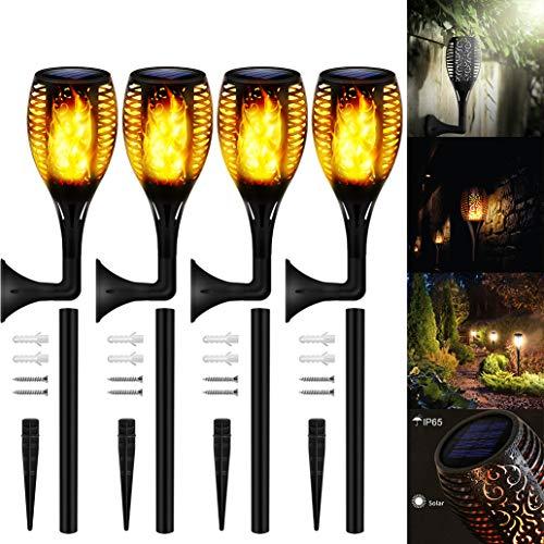 Solarleuchten Flammenlicht Garten, 4 Stück 33 LED Solarlichter Draussen mit Solar Tanzflammen für Dekoration, Garten, Terrasse, Außenterrasse (33LED NEW)