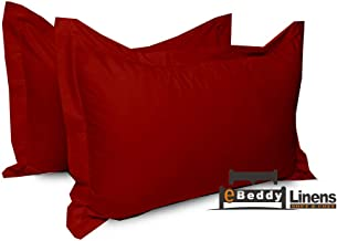 eBeddy Linens Pillow sham Set of 2 Burgundy Solid 800...