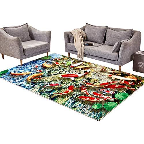ZHAOJDT Moderne minimalistische stijl woonkamer salontafel sofa romantische slaapkamer nacht creatief tapijt vis patroon 180 × 250 cm vloermat uit de regio 140×200cm