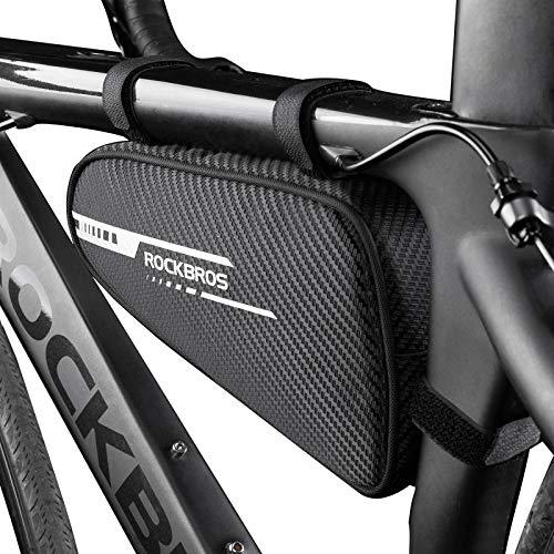 ROCKBROS Fahrrad Rahmentasche Fahrradtasche Dreieckstasche Fahrradrahmen Tasche für MTB, Rennräder Fahrradzubehör 1,2L Schwarz
