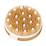 HEETA Body Brush, Round Handle Solid Wood Boar Bristle Brush, Body Exfoliating Brush for Shower Wet or Dry Brushing Gently Exfoliate Dead Skin & Cellulite, Natural Bristles and Soft Nylon Brush, Brown