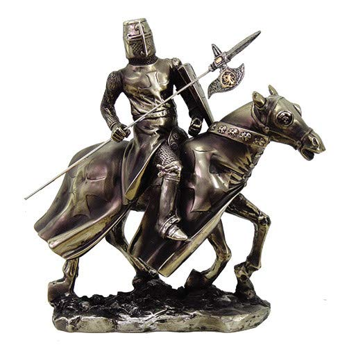 Pacific Giftware PTC 8.5 Inch Armored Medieval Knight Riding on Horse Statue Figurine