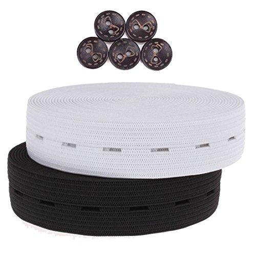 COTOWIN 3/4 Inch Buttonhole Elastic Buttonhole Belt 10 Yards (5 Yards Black,5 Yards White)