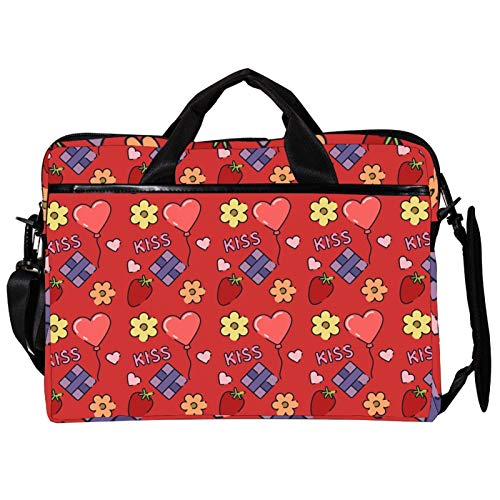 Unisex Computer Tablet Satchel Bag,Lightweight Laptop Bag,Canvas Travel Bag,13.4-14.5Inch with Buckles Valentine's Day Kiss Love Strawberry Balloon