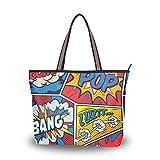 ALAZA Tote Umhängetasche Retro Pop-Art-Comic-Handtasche Groß