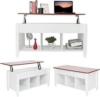 MTFY Lift Top Coffee Table, Modern Wood Home Living Room Furniture Coffee Table Desk with Hidden Compartment Storage Shelf (White)