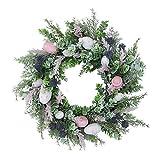 HanOBC, Ghirlanda pasquale con ramoscelli e uova, decorazione per la porta, per casa o ufficio