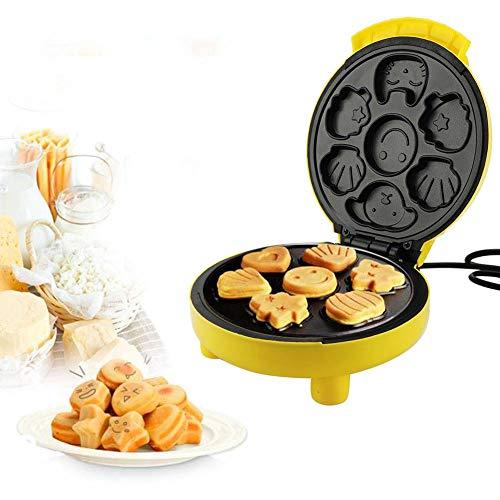 Macchina Muffin Macchina per Cake Pop, 7 pezzi alla volta, Mini Cake Maker con Piastre Antiaderenti, Macchina per Cupcake in lega di titanio e PP, 24 * 21 * 12.5 cm, Giallo