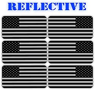 (x6) 3M REFLECTIVE Stealthy American Flag Hard Hat Stickers | Black Ops Decals | Tactical Gear Survival Labels | USA Flags Toolbox Helmet Patriotic Old Glory