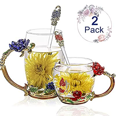 Tea Cup Glass Coffee Mugs (12 oz), Pack of 2 Fancy Tea Cups, Clear Glass Cups with Spoon Set, Mother's Day Gifts, Handmade Butterfly, Rose Flower Enamel Design, Birthday Decoration Wedding Gift Ideas