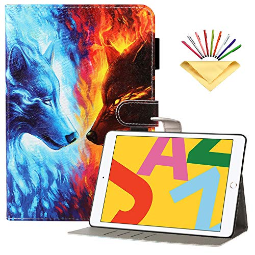 Uliking Folio Stand Case for Apple iPad 7th Gen 10.2' 2019/ iPad Air 3 10.5' (3rd Gen) /iPad Pro 10.5', with Pencil Holder Card Slots [Auto Wake/Sleep] PU Leather Wallet Smart Cover, Flame & Ice Wolf