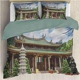 Conjunto de funda nórdica de la antigua China Monasterio de Putuo del sur Estructura de aspecto retro Monasterio en Fujian Conjunto de funda nórdica y funda de almohada Amoy Multicolor California King