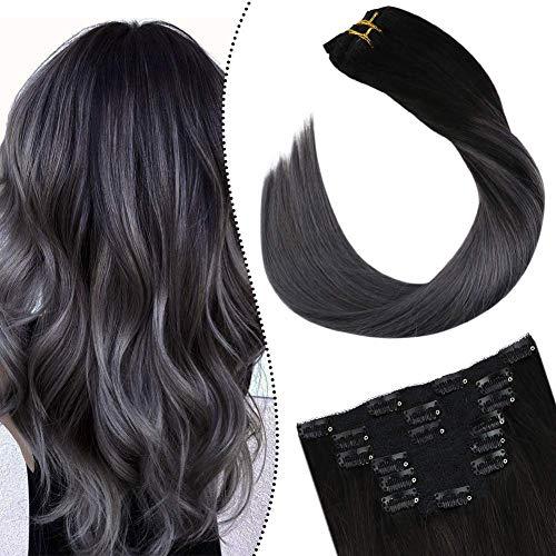 Ugeat Hair Clip on Strahnen Schwarz Balayage Silber Naturliche Haarverlangerung Clips Tressen 7Pieces 100Gramm Double Weft Extensions Glatt 16zoll