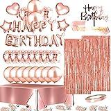 Set di decorazioni per feste di compleanno in oro rosa incluso striscione di compleanno palloncini coriandoli palloncini fusciacca e tovaglia usa e getta, per ragazze e donne Rosso rosato