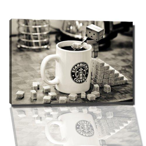 Starbucks Tasse Bild auf Leinwand -- 80 x 60 cm fertig gerahmte Kunstdruckbilder als Wandbild - Billiger als Ölbild oder Gemälde - KEIN Poster oder Plakat