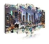 DekoArte 276 - Cuadros Modernos Impresión de Imagen Artística Digitalizada | Lienzo Decorativo para Tu Salón o Dormitorio | Ciudades Nueva York Skyline Manhattan Iluminado | 5 Piezas 200 x 100 cm XXL