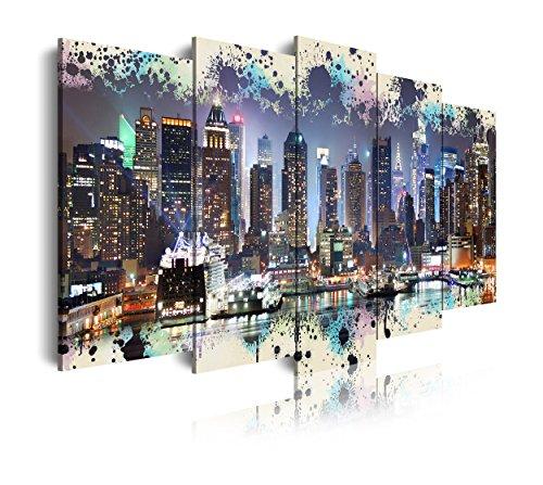 DekoArte 261 - Cuadros Modernos Impresión de Imagen Artística Digitalizada | Lienzo Decorativo Para Tu Salón o Dormitorio | Estilo Ciudades Nueva York Skyline Manhattan Iluminado| 5 Piezas 150x80cm