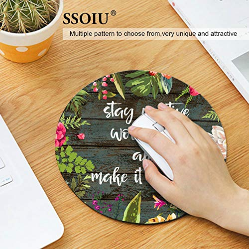 SSOIU Round Mouse Pad Custom,Stay Positive Work Hard and Make It Happen Inspirational Quotes Mouse pad Vintage Hand Drawn Floral Wreath Art on Rustic Wood White Quote Photo #3