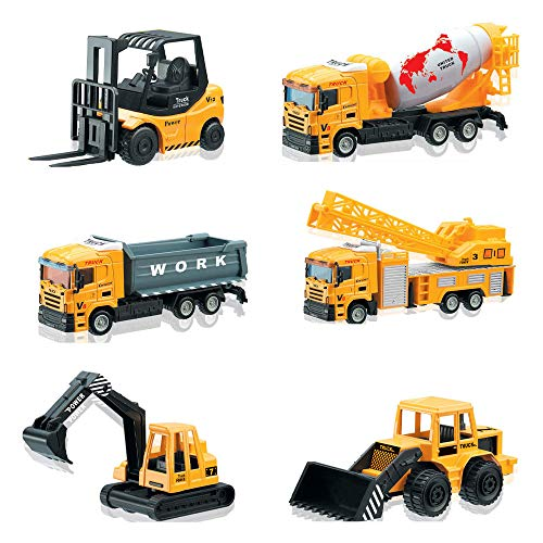 deAO 6 Druckguss-Bauwagen-Spielset - Enthält Gabelstapler, Mischer, Lader, Dumper, Bulldozer, Kran und Verkehrszeichen - EIN großer Spaß für Kinder