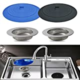 Seatery 4PCS Kitchen Sink Strainer Stopper Kit, Universal...