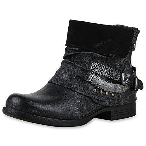 SCARPE VITA Damen Biker Boots Used Look Stiefeletten Nieten Schuhe 151754 Schwarz Silber Nieten 36