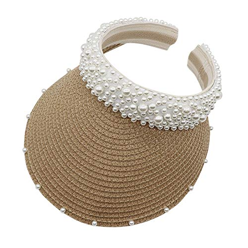Vobery Diadema de perlas para mujer, para el pelo, sombrero, protección solar, sombrero, hueco, para el sol (color caqui)