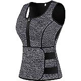 Sweat Vest Waist Trainer for Women Weight Loss Neoprene Sauna Slimming Vest with Adjustable Waist Trimmer Belt Grey