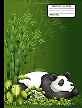 Cartoon Panda Bear Sleeping in Bamboo Leaves Composition Notebook College Ruled 200 Pages / 100 Sheets 9-3/4  x 7-1/2
