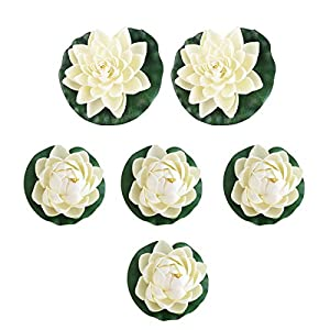 UEETEK 6pcs Artificial Lifelike Foam Pond Plants Lotus Lilies for Home Decor White