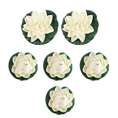 UEETEK 6pcs künstliche lebensechte Schaum Teich Pflanzen Lotus Lilien für Inneneinrichtungen weiß
