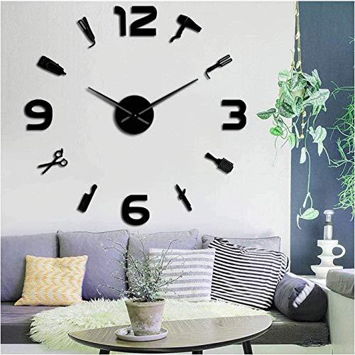 Kit da barbiere orologio da parete gigante fai-da-te negozio di barbiere orologio da parete con superficie a specchio salone di bellezza parrucchiere senza ticchettio grande orologio 47 pollici