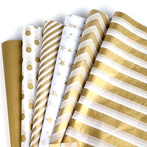 SAVITA 60 Fogli 35x45 cm Carta Velina Oro Carta Velina per Imballaggio Rotolo Carta Regalo Grande Velina per Pacchi Regalo, Metallizzata Dorato Bianco, Carta Velina da Regalo Metallizzata