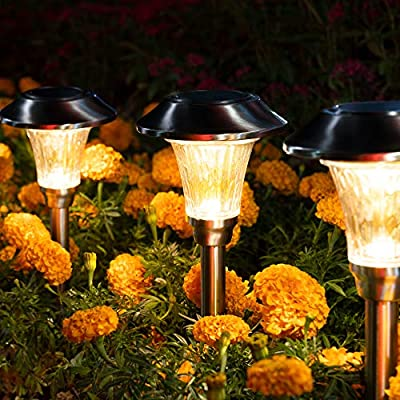 Solpex Solar Path Lights, 8 pcs Solar Garden Lights, Waterproof Glass Stainless Steel Automatic Solar Lights for Yard, Lawn, Patio, Garden, Path, Walkway or Driveway?Warm White?