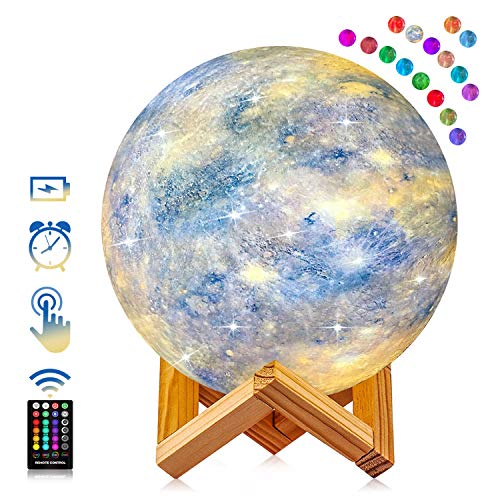 Moon lamp, GDREAMT 16 Colors Galaxy Lamp Kids Night Light 4.8 Inch 3D Star Moon Night Light with Stand, Remote & Touch Control USB Rechargeable LED Night Lamp Gifts for Baby Girls Lover Birthday