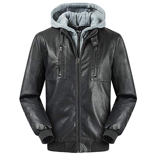TFO Men's Faux Leather Jacket Classic Windproof Relaxed Fit with Removable Hood Black