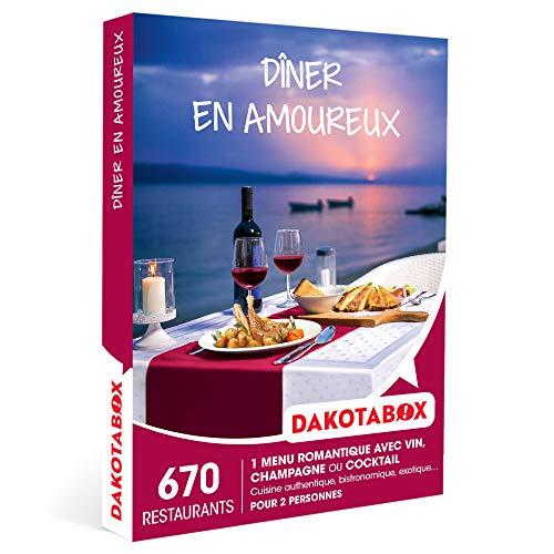 DAKOTABOX - Dîner en amoureux - Coffret Cadeau Gastronomie - 1 repas romantique avec vin, champagne ou cocktail pour 2 personnes