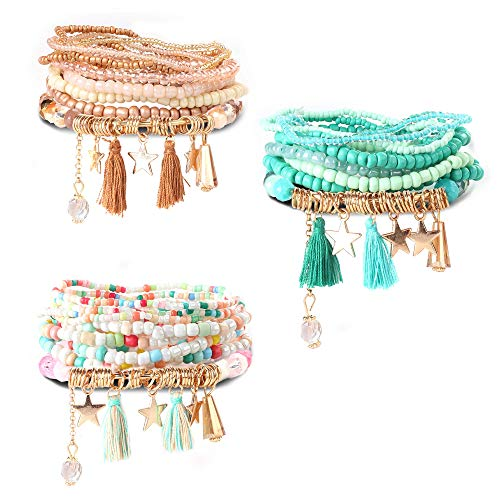 Milacolato 3Set Bead Mala Wrap Bracelet para Mujeres Niñas de Bohemia de Múltiples Capas Pulseras Apilables