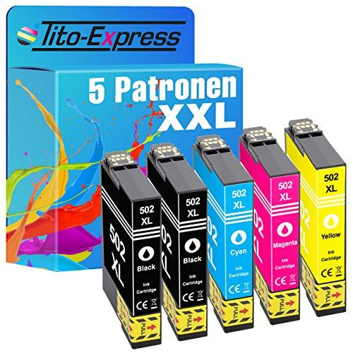 Tito-Express ProSerie 5X Druckerpatronen als Ersatz für Epson 502XL 502 XL mit 19ml Black & 14ml je Color XXL-Inhalt Expression Home XP-5100 XP-5105 XP-5115 WF-2860 DWF WF-2865 DWF